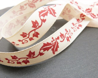 Red Holly And Ivy Christmas Ribbon 15mm
