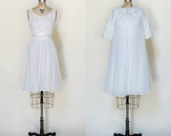 1960s Peignoir Set --- Vintage Bridal Lingerie