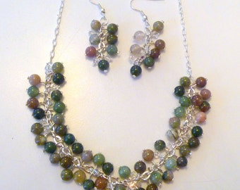 Multicolored Beaded Cluster Necklace and Earrings Set
