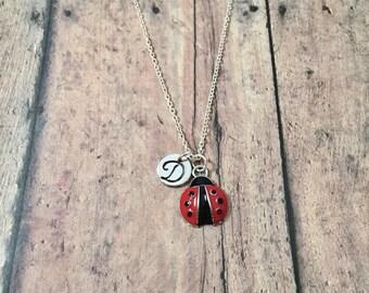 Ladybug initial necklace - ladybug jewelry, garden necklace, insect necklace, ladybird jewelry, gift for gardener, red ladybug necklace