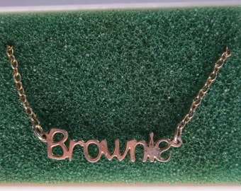 """Vintage Girl Scout """"Brownie"""" Necklace in Original Box circa 1977"""