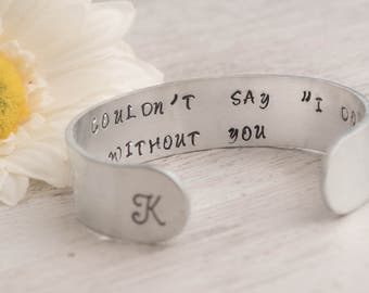 engraved cuff bracelet set as cuff bridesmaid gift set of 3/4/5 cuff bracelet with I couldnt say I do without you note