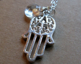 Protect Sterling silver Hamsa hamesh Hand of Fatima and white topaz or birthstone EID necklaces