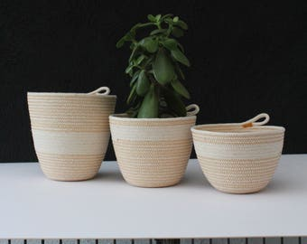 Trio of rope bowls - bee gold // rope bowls / rope basket / rope vessel / urban jungle / jungalow style /