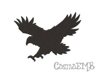7 Size Hawk Silhouette Embroidery design Machine Embroidery - Digital INSTANT DOWNLOAD