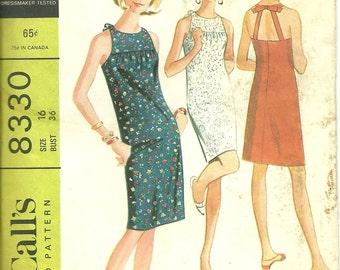 McCalls 8330 Women's Halter Dress 1966