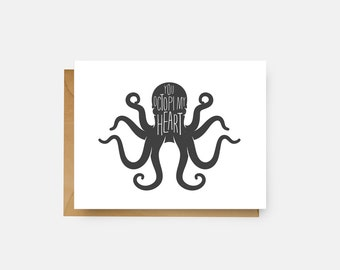 You Octopi My Heart Card // Love Card // Funny Greeting Card // Just Because Card // The Busy Bee