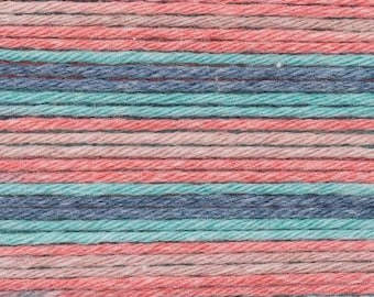 RICO BABY COTTON Soft Print Pelote fil coton et acrylique multicolore rouge bleu petrole 50g 125m