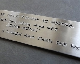 Metal book mark - stamped bookmark - book accessories - silver bookmark - book lover gift
