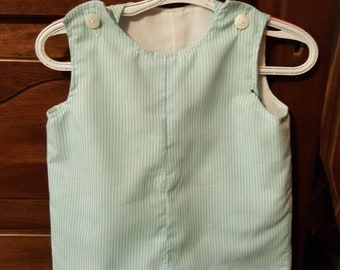 Turquoise Cotton striped Jon Jon  romper completely lined size 6mos