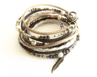 LEATHER BRACELET for Women Multi Wrap BOHO Faux Leather Beaded Bracelet Tan Layered Hemp Wrap Bracelet Womens Leather Bracelet Feather Charm