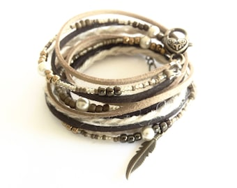 LEATHER BRACELET for Women Woven BOHO Wrap Leather Beaded Bracelet Layered Hemp Wrap Bracelet Women's Pearl Leather Bracelet Feather Charm