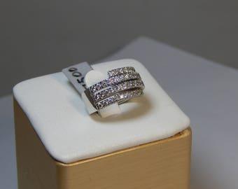 14K WHITE GOLD Ring  10.0G . Diamond 1.50CT