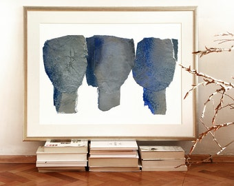 Abstract Giclee Print of Original Blue and Silver Painting, Minimalist Fine Art