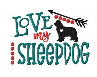 Love My Sheepdog Machine Embroidery Digital Download