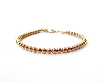Bracelet - 4mm 14K Gold Filled Bead Bracelet - Everyday Wear - 14K Yellow Gold Ball Bracelet - Simple Gold Bracelet - Gold Beads