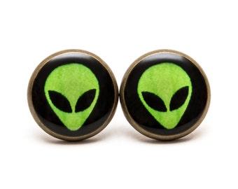 Alien Stud Earrings Alien Jewelry UFO Space Earrings Space Jewelry Green Alien Studs Post