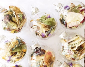 6 Xmas Ornaments   Dried Florals   Clear   Christmas Tree Decorations   Dried Flowers