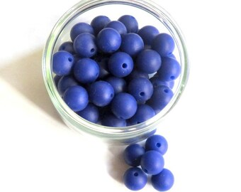 10 silicone ultramarine blue 12 mm round beads