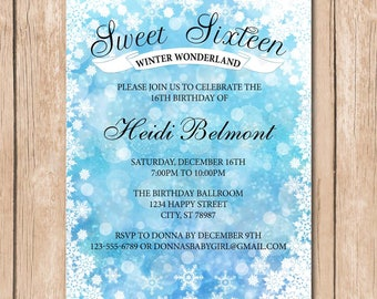 Birthday Party Invitation | Winter Wonderland Celebration, 16th, Sweet Sixteen, Silver - 1.00 each printed