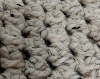 Neutral Crochet Chunky Cowl. Beige, brown, tan, black scarf.