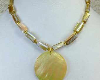 Golden Round Flat Shell Pendant with Long Cut Shell Beads and Tiny Gold Plated Spacer Beads Choker/Necklace