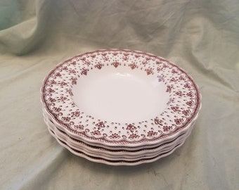 """Lot of 6 Copeland Spode Fleur-de-Lis Rimmed Soup bowls 7 1/2"""""""