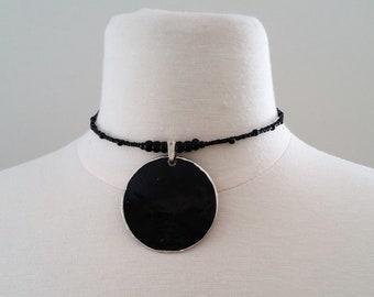 Choker Necklace, Necklace, Choker, Boho Necklace, Beaded Necklace, Beaded Choker, Dainty Choker (black)