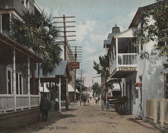 St. Augustine, Florida - View of St. George St. #1 (Art Print - Multiple Sizes Available)