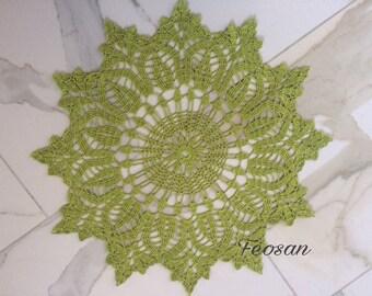 APPLE GREEN crocheted doily
