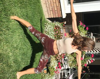 Earth Brown Green Crop Leggings Including Plus Sizes by Splash Dye Activewear (Choose your own length)