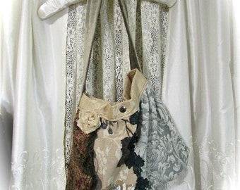SALE Bohemian Hippie Bag, thick upholstery fabric purse, patchwork bag, handmade earthy granny bag, boho shoulder bag