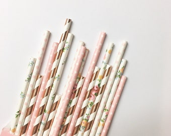 Rose Gold Chic Party Straws//paper straws, straws, party supplies, party decorations, rose gold wedding, birthday party, baby shower,