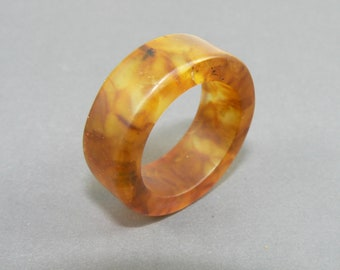 Mother's Day Sale:Beautiful Baltic matte amber ring of cognac color, molded amber, natural stone ring