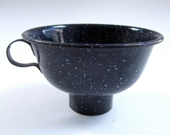 Retro Enamelware Canning Funnel, Speckled, Dark Blue, Metal, Farm House Decor, Vintage Funnel, Rustic