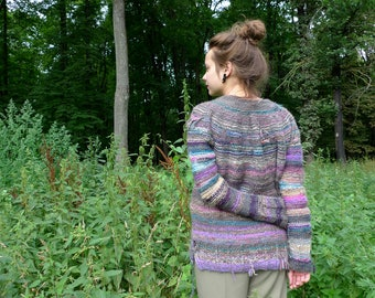 Handmade grey and purple oversized striped  knitted wool sweater