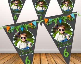 Personalised Happy Birthday PHOTO Flag Banner Bunting with ribbon N84 (10 Flags ) Hanging Decoration Boys Any Age / Text