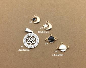 10PCS, Enamel Charm, Moon Star Charm, Saturn Charm, White Star Pendant, Jewelry Charm, Craft Supplies, Gold Tone