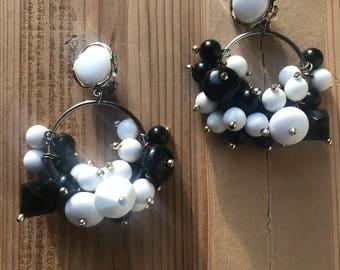 Large Hoop Earrings black and white beaded earrings clip on earrings dangling earrings
