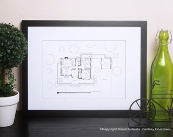 Gilmore Girls - TV Show Floor Plan - Blackline Poster Art for Home of Lorelai and Rory Gilmore - 1st Floor - Stars Hollow