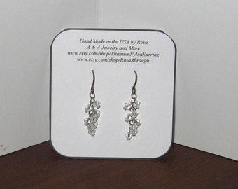 Hypoallergenic /Clear Swarovski Crystals Earrings, Your Choice of Titanium, Niobium or Nylon/Plastic Hooks