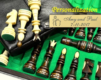 """Personalized 21"""" Grand Chess Set and Cover available - Carved Board - 21""""/54cm-Giant Pieces-Leather Cover available-Personalization for FREE"""