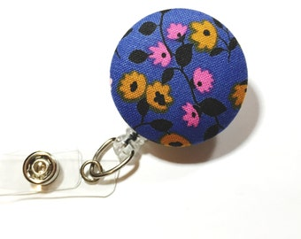 Floral Badge Reel Retractable ID Badge Reel ID Badge Holder Name Badge Clip Badge Pull Nurse Badge Reel Retractable Badge Holder ID Badge