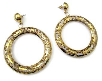 Huge gold hoop earrings, vintage gold hoop earrings, filigree hoop earrings, big gold hoop earrings, 80s earrings, gold tone