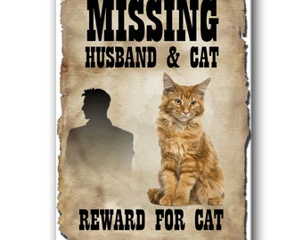 Maine Coon Cat Husband Missing Reward Fridge Magnet No 2