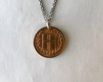 Vintage Iceland 1953 1 Cent Coin Charm Necklace