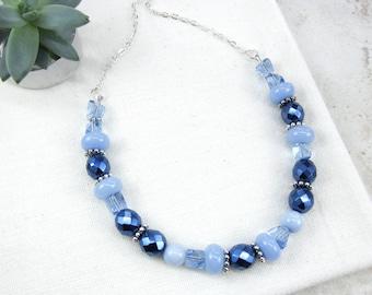 Blue Pastel Necklace, Royal Blue Necklace, Unique Blue Necklace, Light Blue Crystal Necklace, Chunky Blue Necklace, Gift Idea