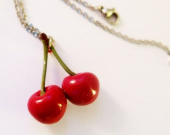 Cherry fruit necklace - Fruit Jewelry - Fruit necklace - Miniature Food Jewelry, cherry necklace