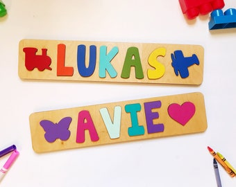 Wooden name puzzle etsy negle Image collections