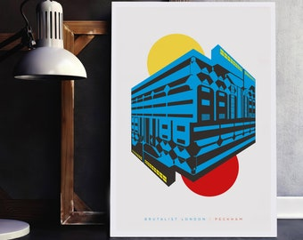 Brutalist London: Peckham. Prints of London, Illustrated poster - Matte and Giclee Art Prints in A3 or A2 sizes. Wall Art.